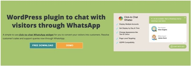 click to chat plugin