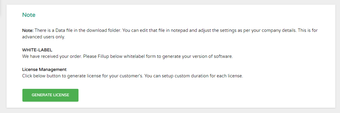 Generate Licence for Whitelabel customers